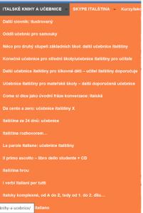 Italské knihy a učebnice: učebnice italštiny, slovníky, zjednodušená četba.